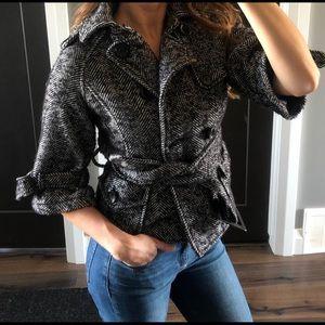 Gorgeous Cropped-Sleeves Herringbone Coat
